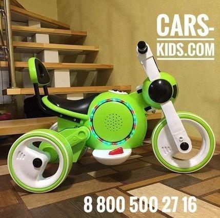 Электромотоцикл Bubble зеленый (покраска глянец, музыка, свет, бардачок)