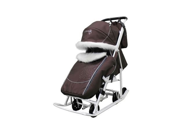 Санки-коляска Pikate Snowman (Снеговик) (прочные материалы, овчина 70%, стильный дизайн)