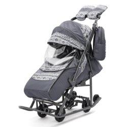 Санки-коляски Pikate Скандинавия «Серый» (овчина, 3 положения спинки, краска рамы темно-серый)