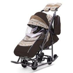 Санки-коляски Pikate Скандинавия «Шоколад»(овчина, 3 положения спинки, краска рамы темно-серый)