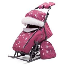 Санки-коляски Pikate Снежинки «Малина» (овчина, 3 положения спинки, краска рамы темно-серый)