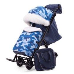 Санки-коляски Pikate Military «Синий» (овчина, 3 положения спинки, краска рамы темно-серый)