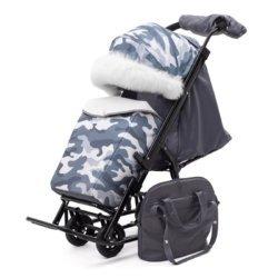 Санки-коляски Pikate Military «Серый» (овчина, 3 положения спинки, краска рамы темно-серый)