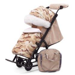Санки-коляски Pikate Military «Бежевый» (овчина, 3 положения спинки, краска рамы темно-серый)