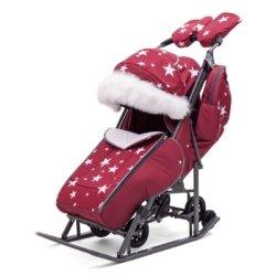 Санки-коляски Pikate Звезды «Бордо» (тент от дождя и мокрого снега, овчина, 3 положения спинки, краска рамы темно-серый)