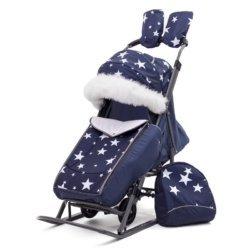 Санки-коляски Pikate Звезды «Синий» (тент от дождя и мокрого снега, овчина, 3 положения спинки, краска рамы темно-серый)