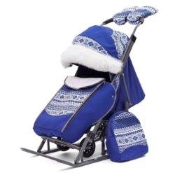 Санки-коляски Pikate Скандинавия «Синий» (овчина, 3 положения спинки, краска рамы темно-серый)