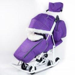 Санки-коляски Pikate Снеговик «Фиалка» ( овчина, 3 положения спинки, краска рамы белый)