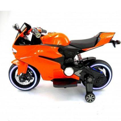 Электромотоцикл Ducati SX1628-G оранжевый (колеса резина, сиденье кожа, музыка, страховочные колеса)